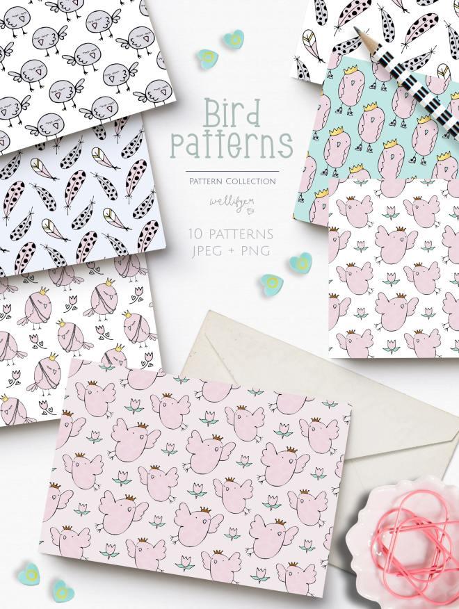 Bird pattern collection by Wallifyer-min