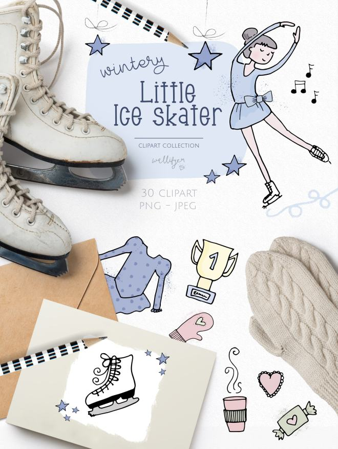 Little Figure Skater Clipart Collection by Wallifyer Clipart-min