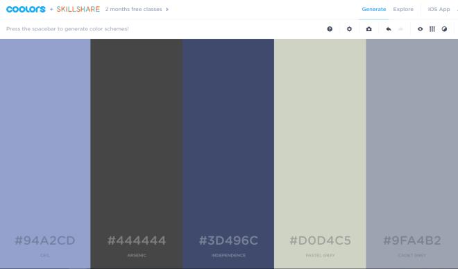 Coolors color scheme tool