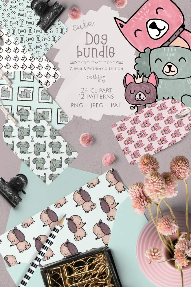 Dog clipart and pattern bundle by Wallifyer Clipart